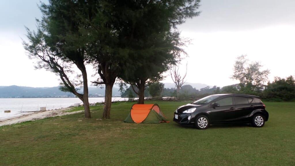 acampar en una llanura en Japón