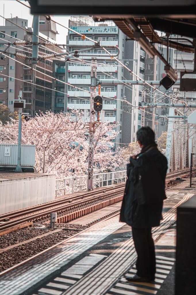 persona esperando el tren en la estación de sakuranomiya