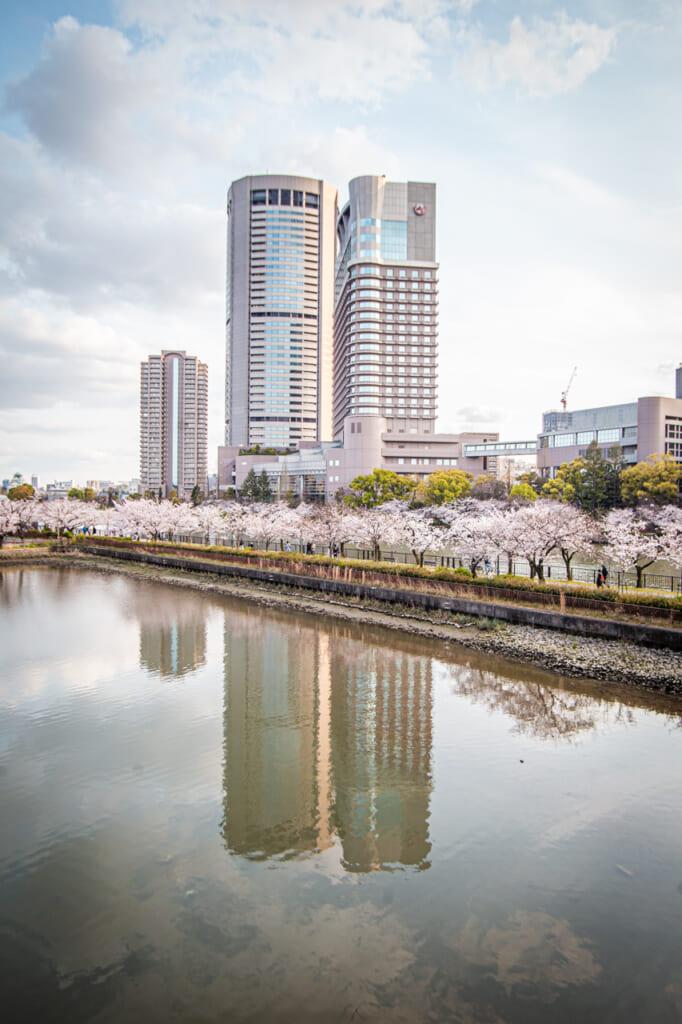 edificios y cerezos en flor reflejados en el agua en el rio okawa de Osaka
