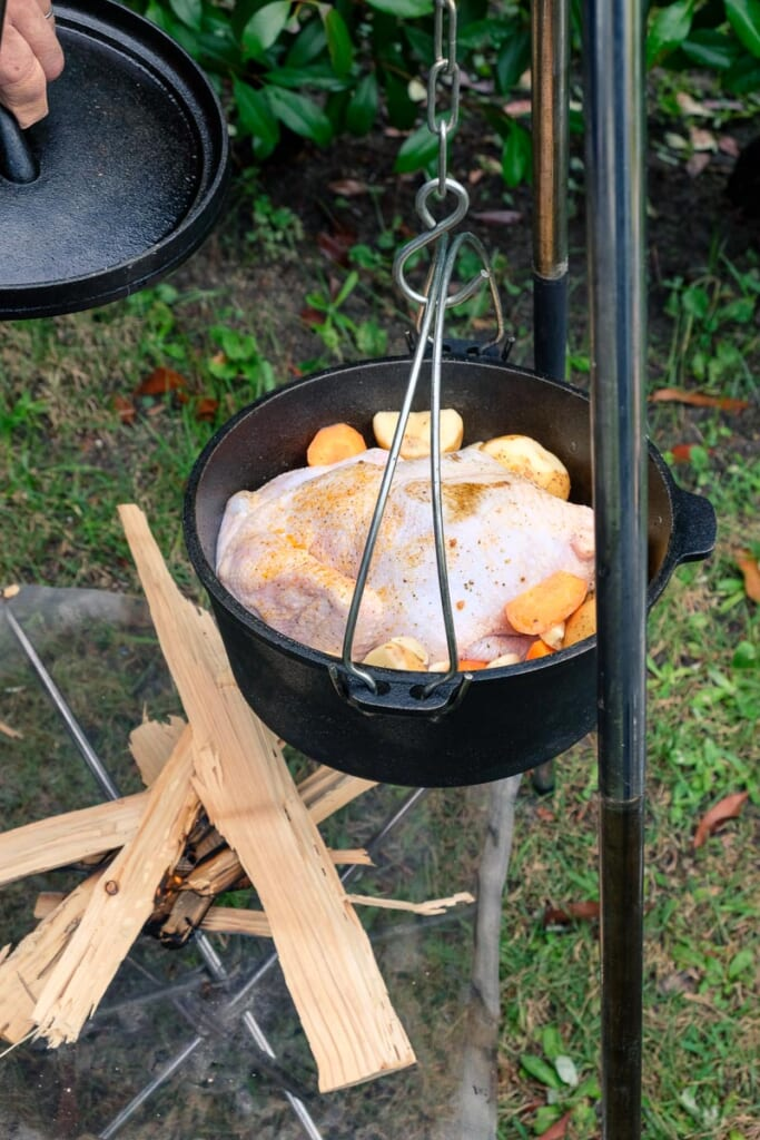 Comida en un camping japonés