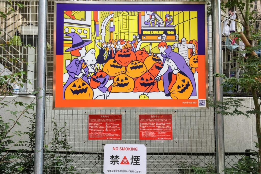 Cartel en Shibuya llamando al civismo en Halloween