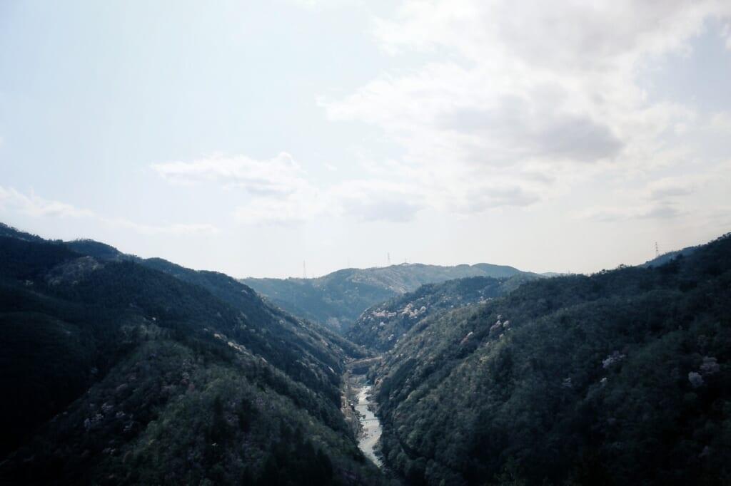 Las vistas desde la parte superior en Arashiyama
