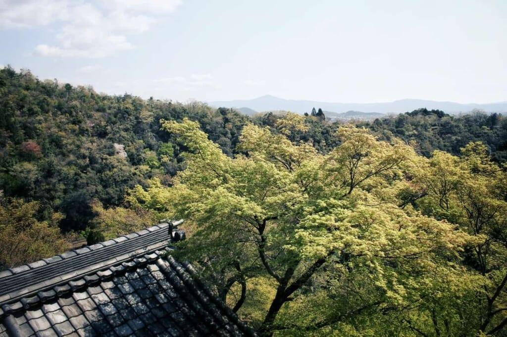 El balcón del templo Daihikaku Senkoji, en Arashiyama