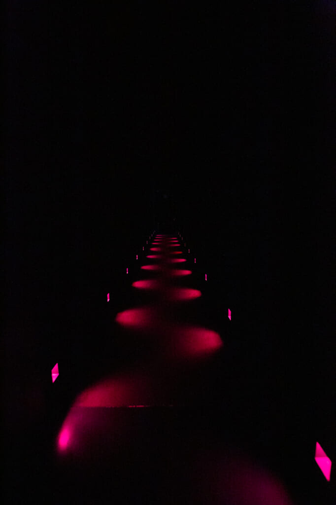 pasillo de luces rojas en teamlab planets