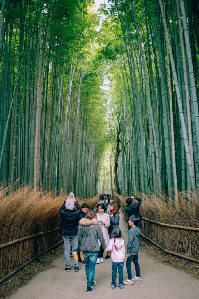 Turistas en el bosque de bambú de Arashiyama