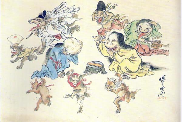 ilustracion del desfile nocturno de los 100 demonios