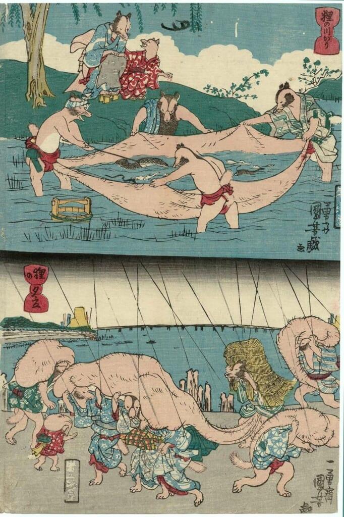 ilustracion de varios tanuki utilizando sus testiculos para pescar