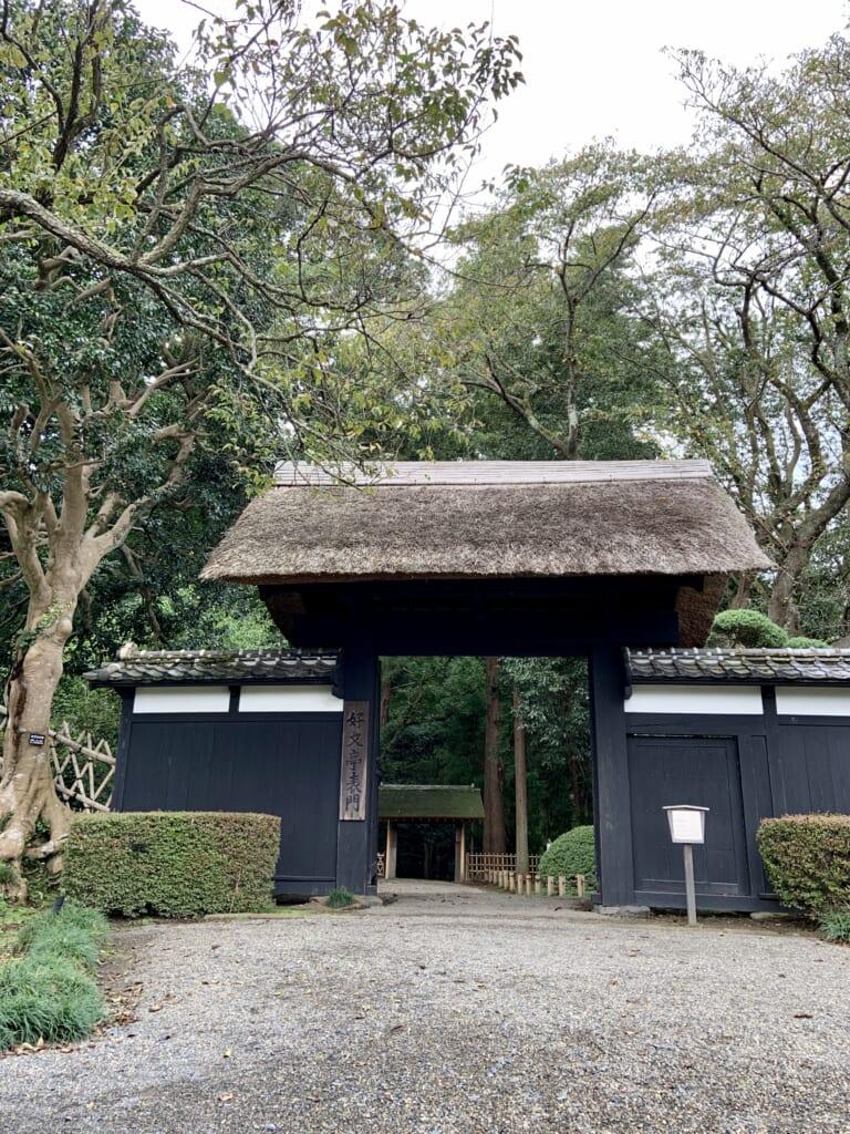 Una de las puertas con un techo