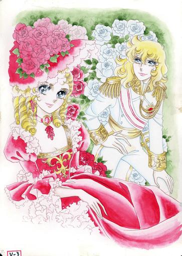 Portada de manga kawaii La Rosa de Versalles en las vitrinas de Harajuku