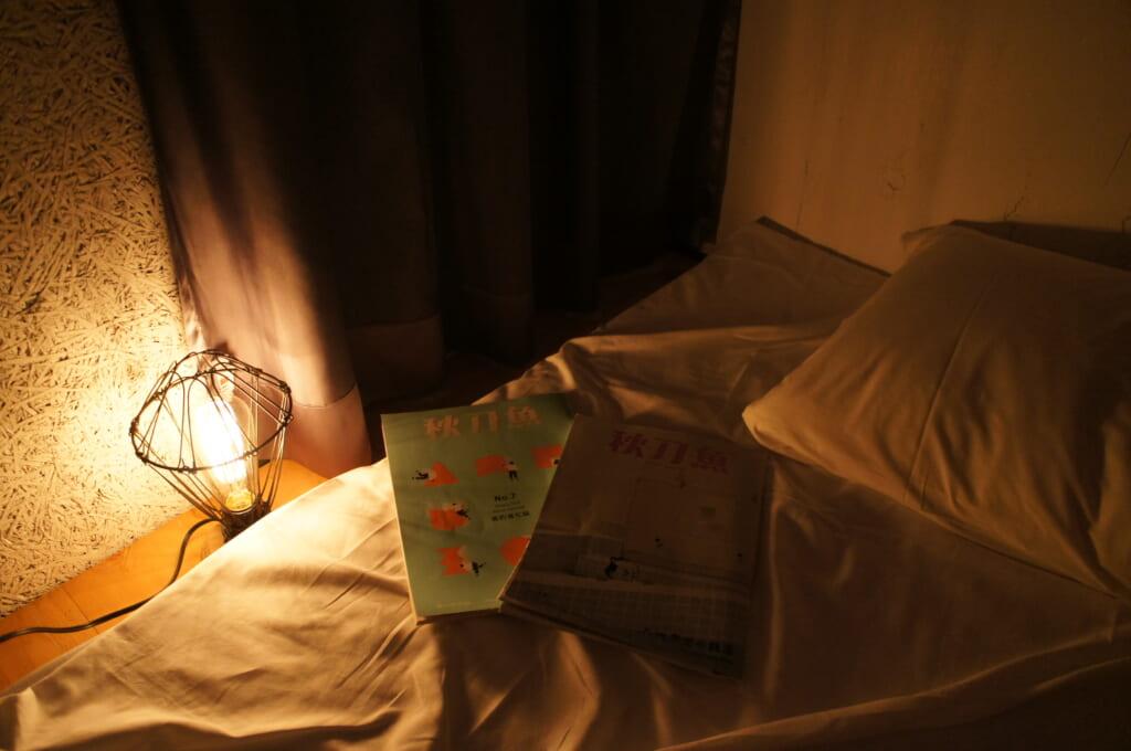 libros sobre una cama