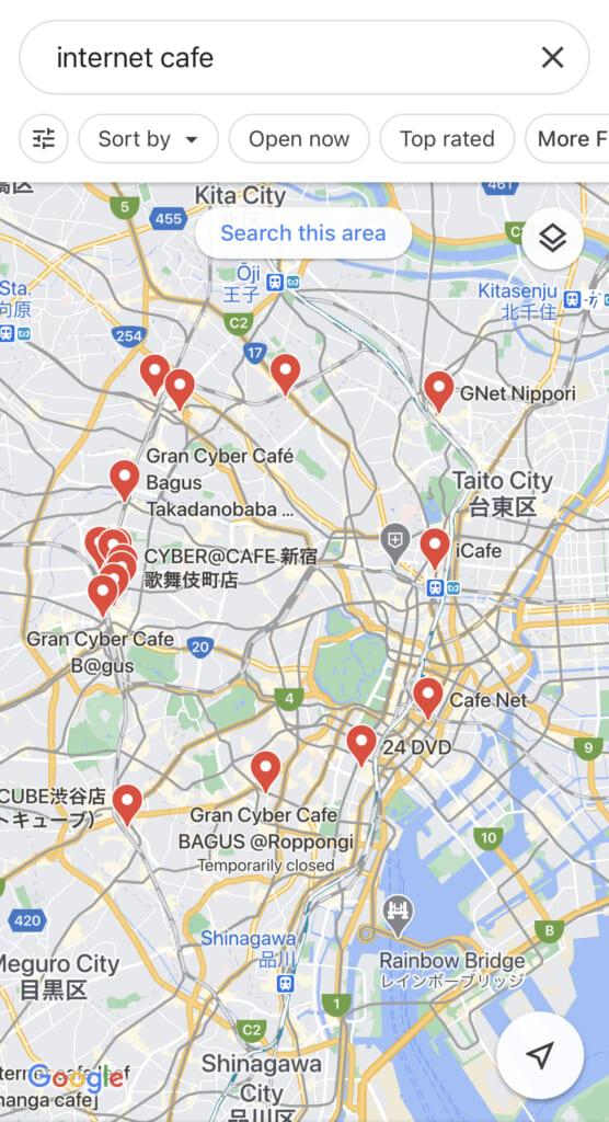 mapa de manga cafes de tokio