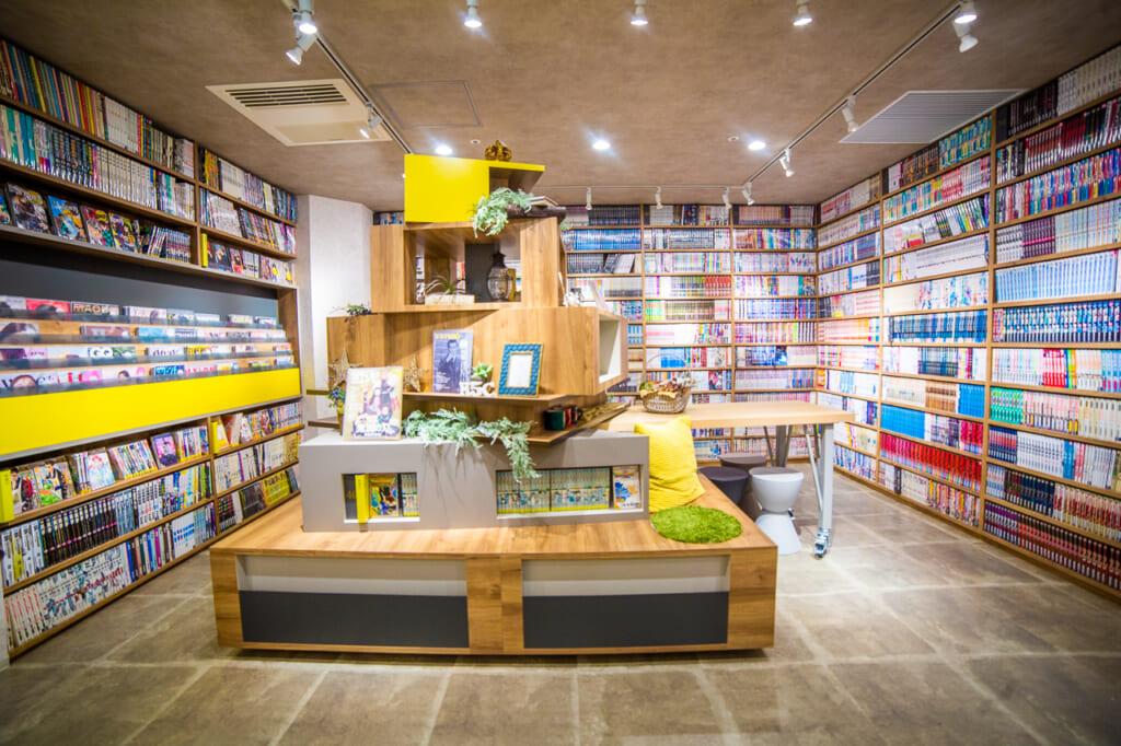 zona pública de un manga kissa de Tokio, Japón