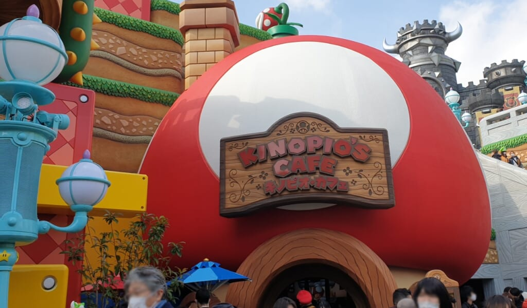 Uno de los locales de comida de Super Nintendo World