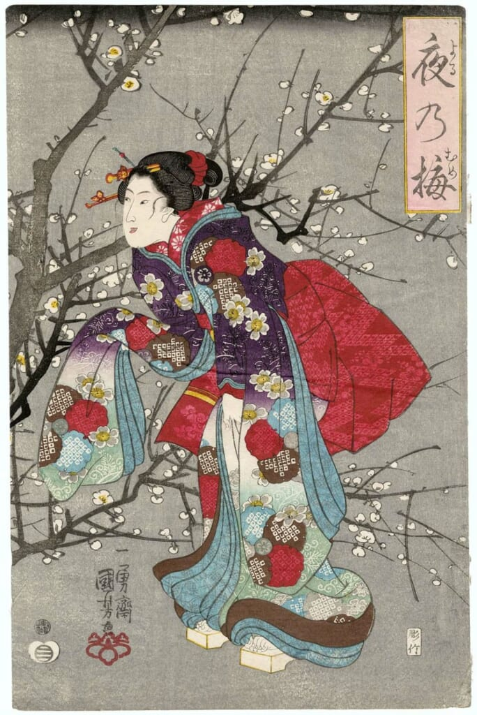 una pintura ukiyo-e con ume
