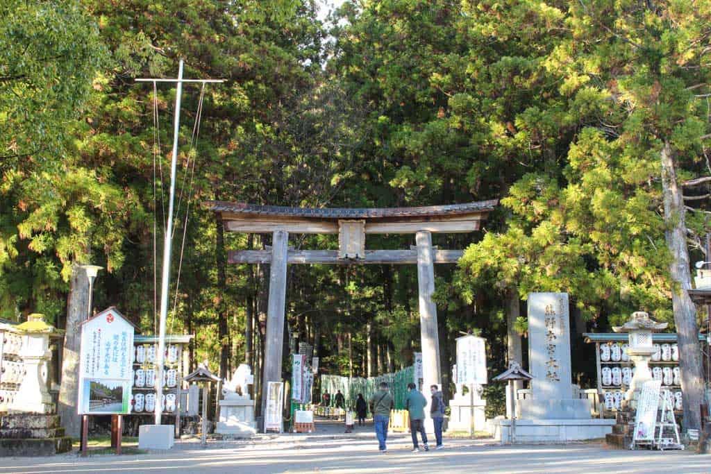 El torii de la entrada del Kumano Hongu Taisha en el Kumano Kodo