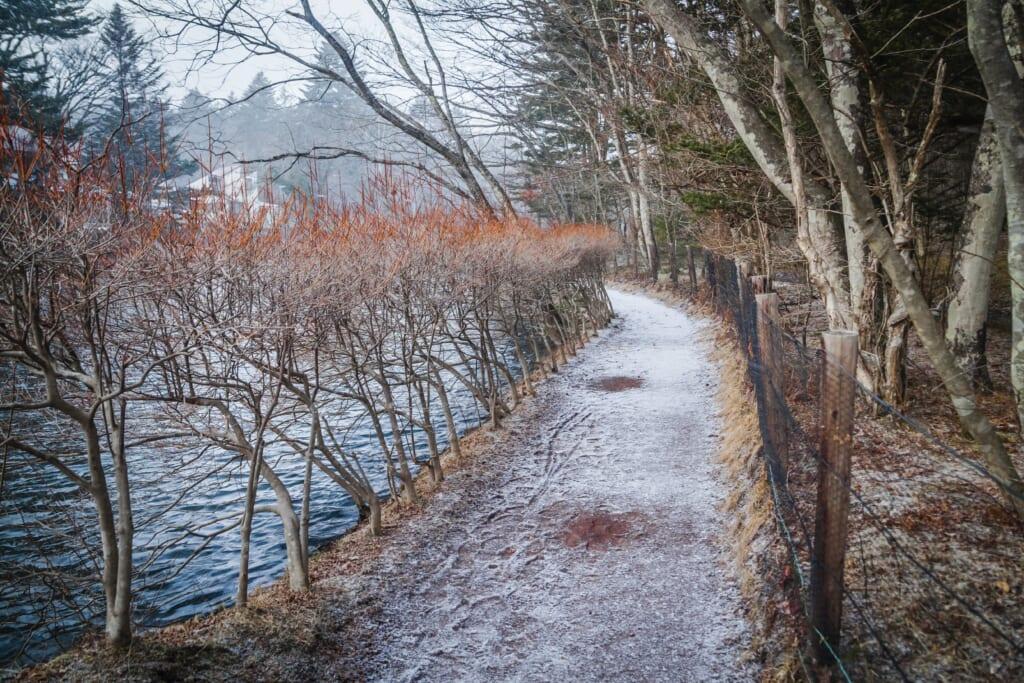 Estanque Kumoba de Karuizawa en invierno