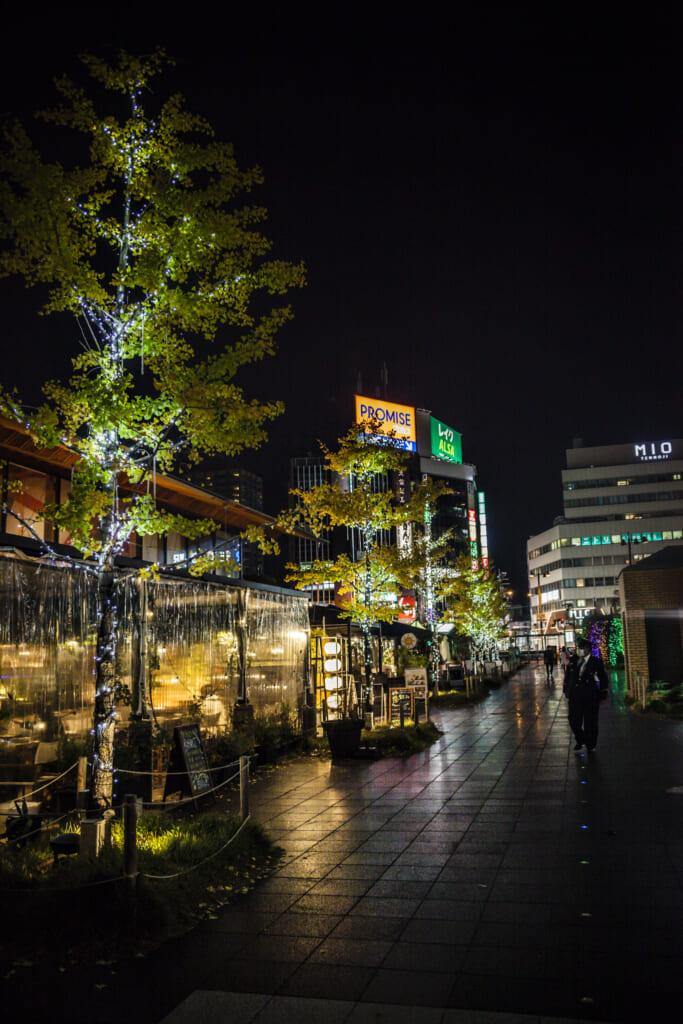 Iluminación de los cafés del parque Tennoji