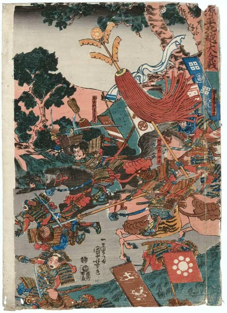 Representación de una batalla entre los Minamoto y los Taira por Utagawa Kuniyoshi, 1839 - 1841