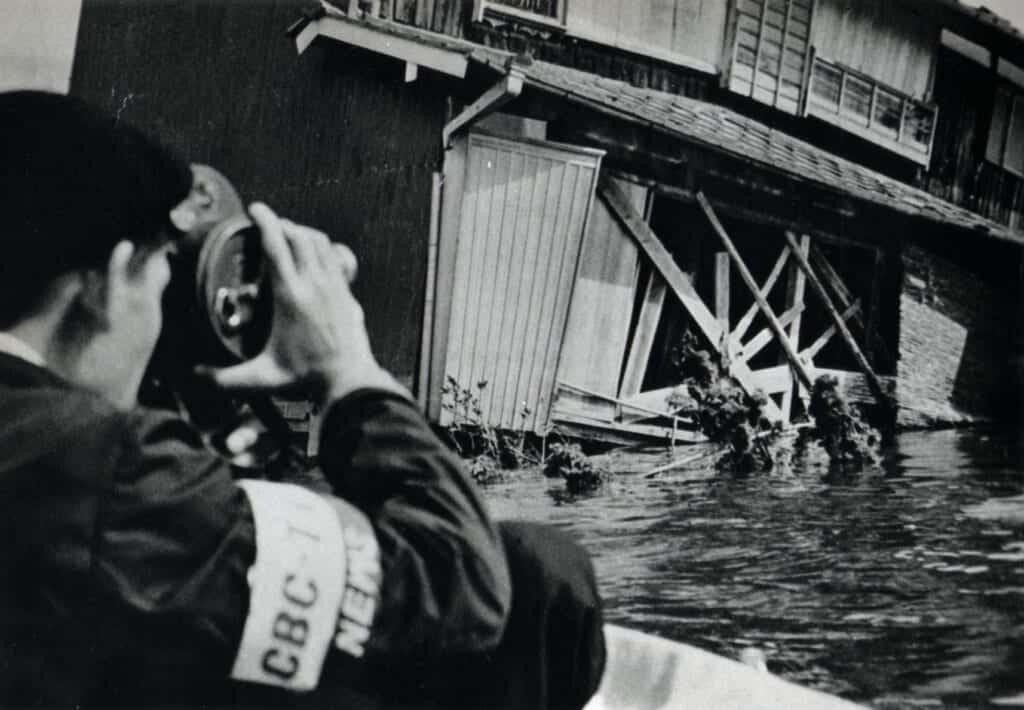 Fotografía de las secuelas del tifón Vera en 1959 en Japón