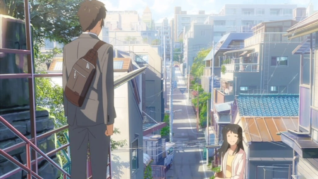 Escena de Your Name en escaleras de Yotsuya