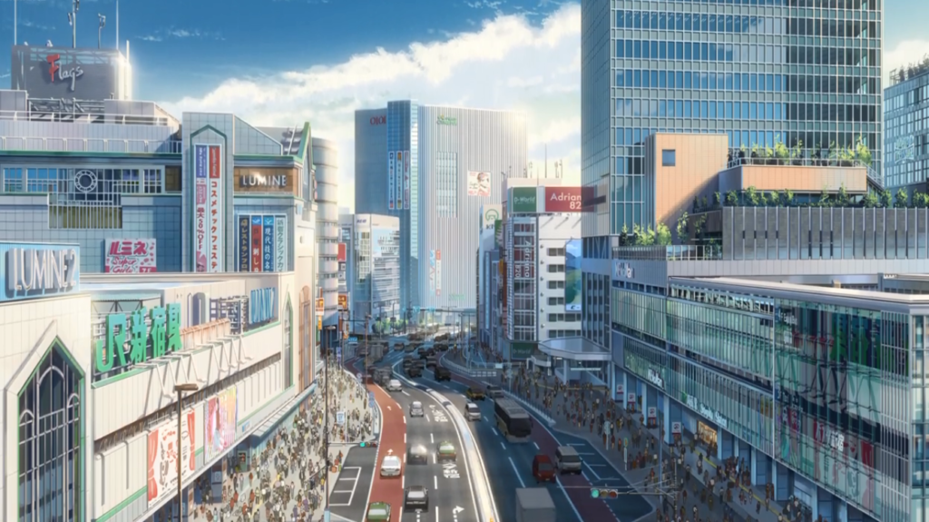 Escena de Your Name en estación de Shinjuku