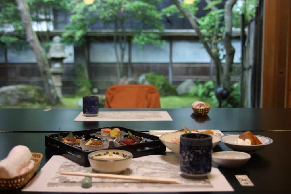 Un menú kaiseki en un ryotei