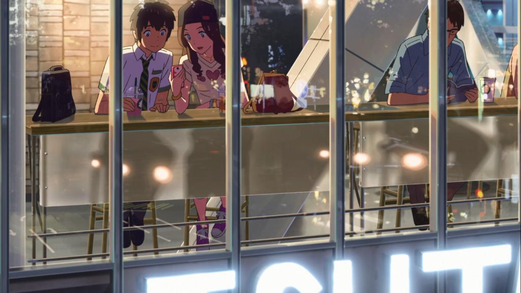 Escena de Your Name en Starbucks de Shibuya