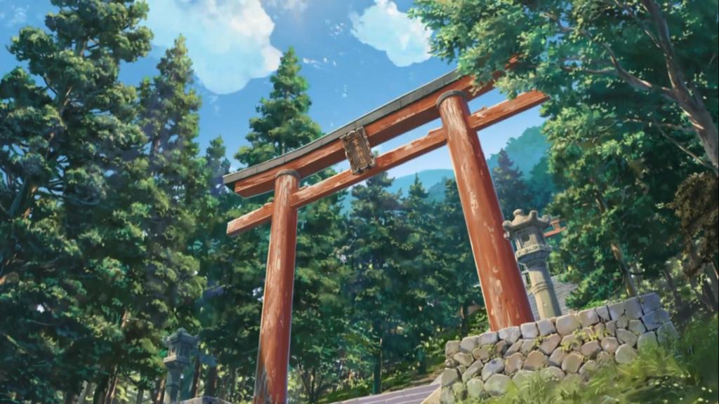Escena de Your Name en Santuario Miyamizu