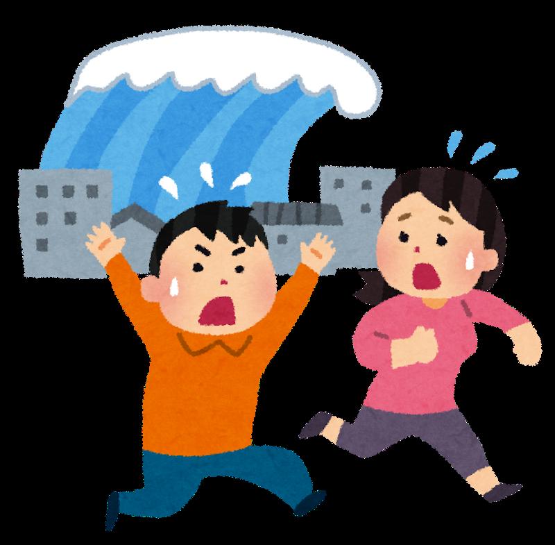 ilustración de gente huyendo de un tsunami