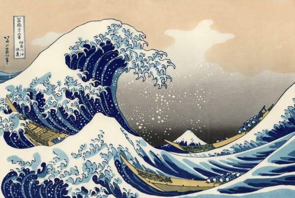 La gran ola de Kanagawa, ilustración de Hokusai