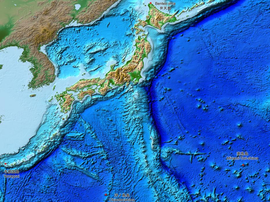 Imagen de satélite de placas tectónicas en Japón