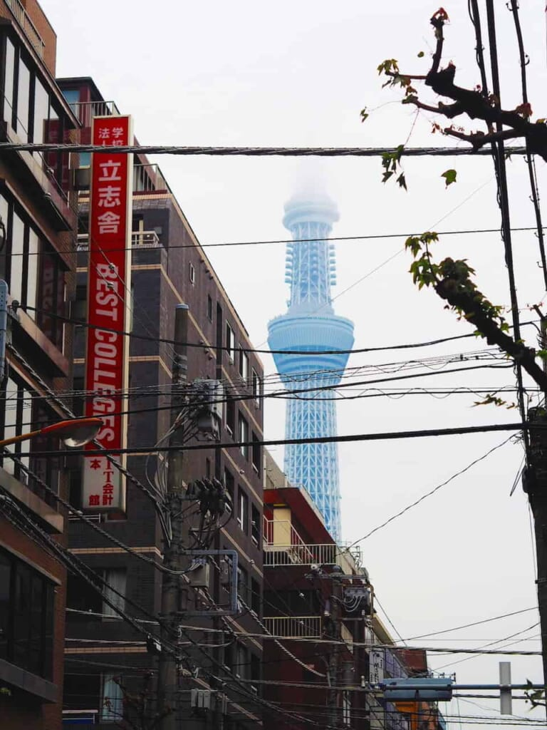 La torre Tokyo Skytree entre los edificios del barrio de Sumida