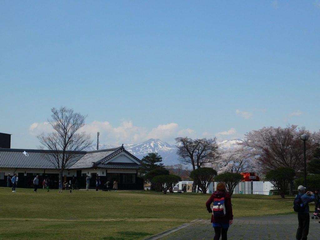 Blick auf die Gebrgskette, Stadt Shirakawa, Präfektur Fukushima.