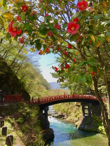 Shinkyo Bridge auf dem Weg nach Nikko Toshogu in der Präfektur Tochigi, Japan.