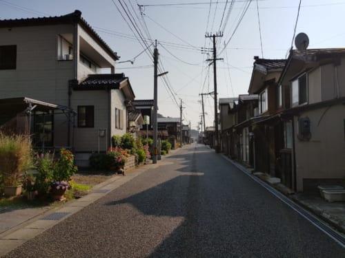 Die Fischerhäuser von Izumozaki, Präfektur Niigata, Japan.