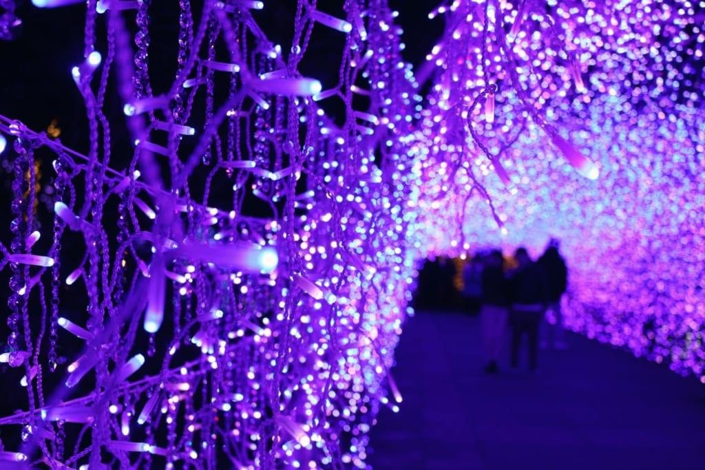 Ein beleuchteter Tunnel mit lilafarbenen LED Lichtern.