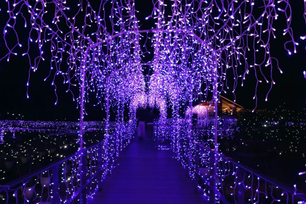 Ein Baldachin aus lilafarbenen LED Lichtern.