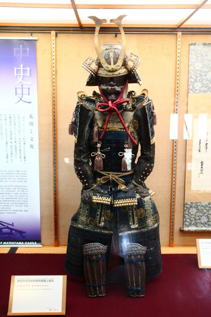 Die Ausstellung im Inneren der Burg Matsuyama.