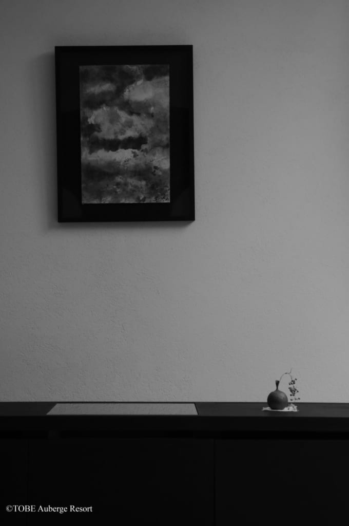 Ausstattung der Zimmer des Resorts, Ehime, Shikoku, Japan.