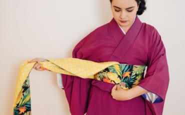 Einen Hanhaba Obi im Bunko Stil binden.