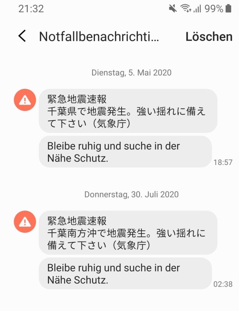 Warnung bei einem Erdbeben in Japan auf dem Smartphone.