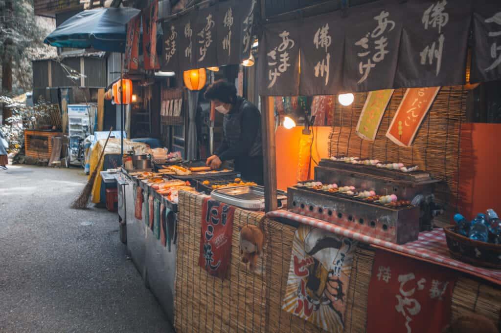 Momiji Tempura im Mino Park, Osaka.