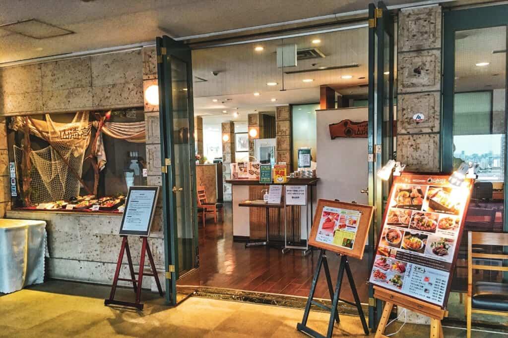 Das Restaurant Sankaitei in dem Gebäude Hokutopia in Oji, Tokio, Japan.