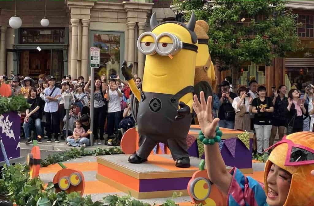 Minion während einer Parade in den USJ, Osaka, Japan.
