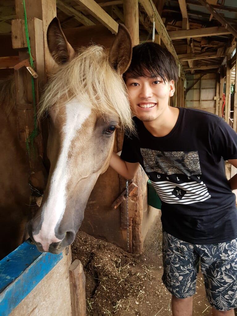 Pferde in Japan besuchen in miura Kaigan.