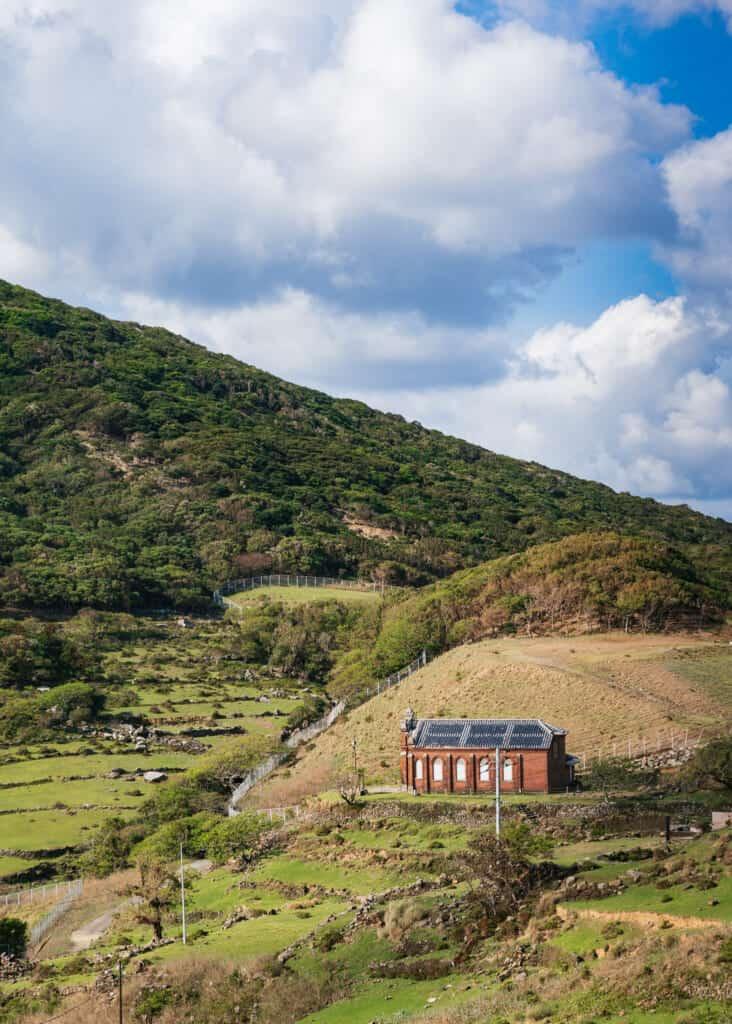 Einsame Häuser auf der Insel Nozaki.