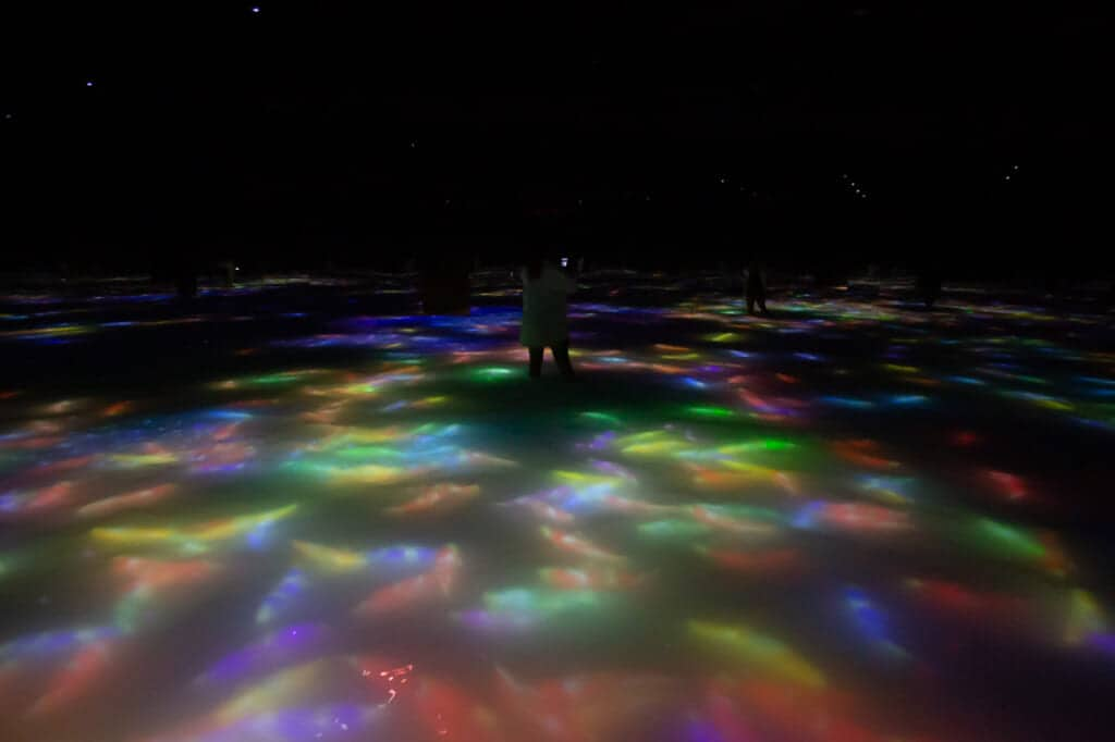 Drawing on the Water Surface Created by the Dance of Koi and People – Infinity: Um eure Füße herum, schwimmen digitale Koi-Karpfen im teamLab Planets in Tokio.