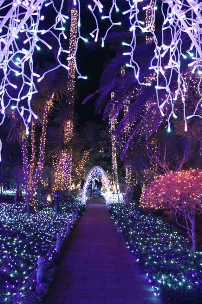 Die Winterbeleuchtung auf der Insel Enoshima.