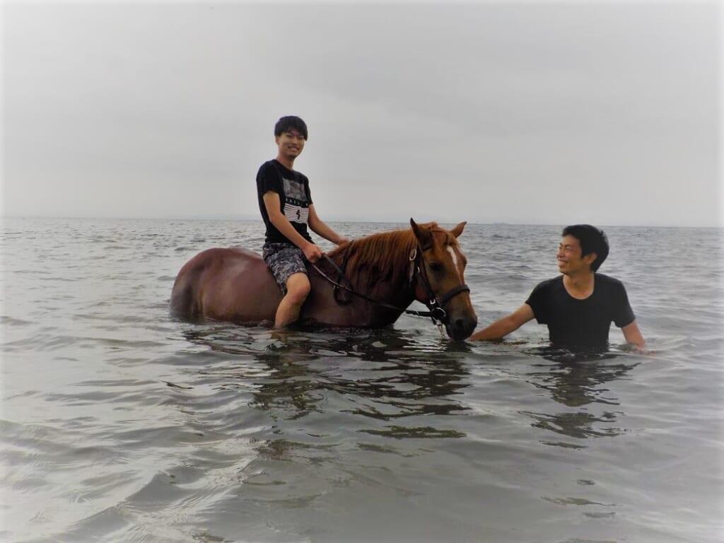 Reiten in der Nähe von Tokio, mit den Pferden durch das Wasser.