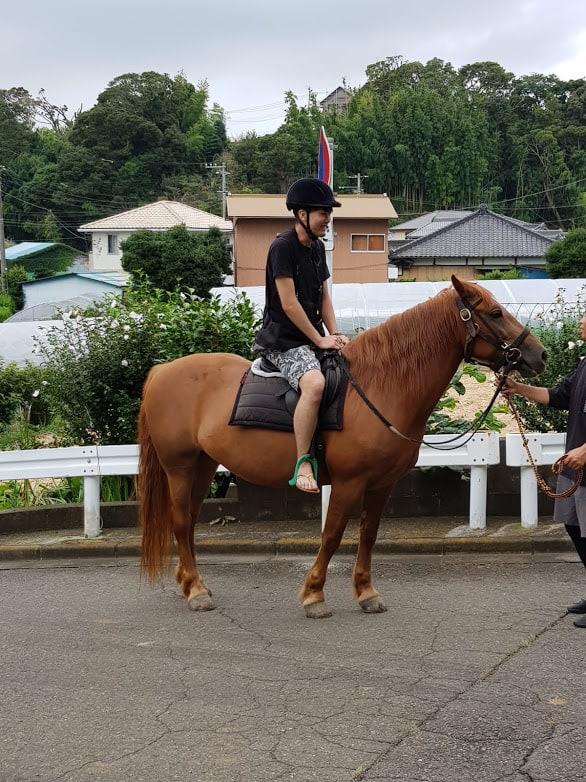 Reiten in der Nähe von Tokio inklusive einer kleinen Reitstunde.